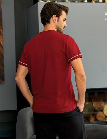 Şahinler - Şahinler Erkek Uzun Pijama Takımı Kırmızı MEP24219-2 (1)