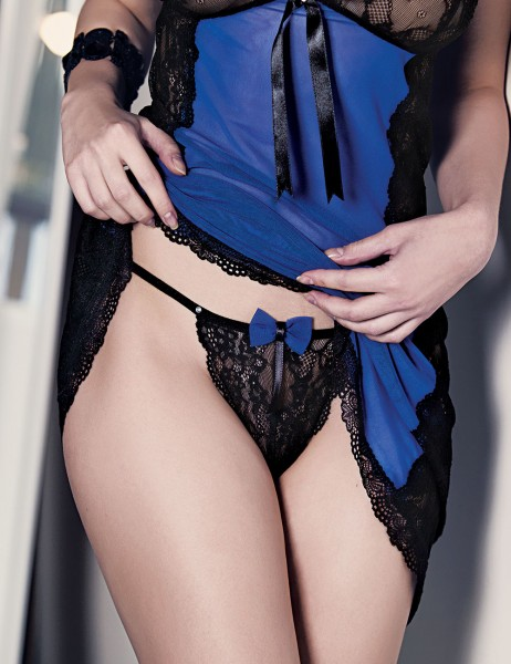 Mel Bee Сорочка Ночная И Стринги Темно-синий Фантазия С Тюлем MB4001
