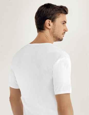 Şahinler - Sahinler geripptes Baumwoll-Unterhemd mit kurzen Ärmeln und rundem Ausschnitt weiß ME019 (1)