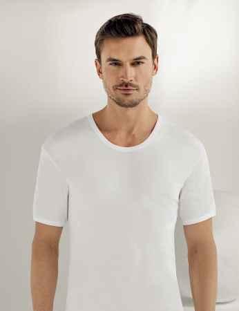 Sahinler geripptes Baumwoll-Unterhemd mit kurzen Ärmeln und rundem Ausschnitt weiß ME019 - Thumbnail
