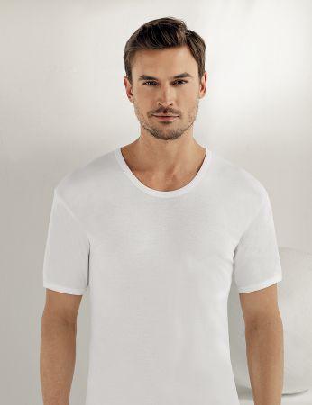 Sahinler geripptes Baumwoll-Unterhemd mit kurzen Ärmeln und rundem Ausschnitt weiß ME019