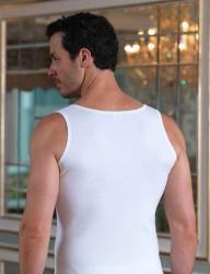 Şahinler - Sahinler geripptes Muskelshirt mit breiten Trägern weiß ME096 (1)