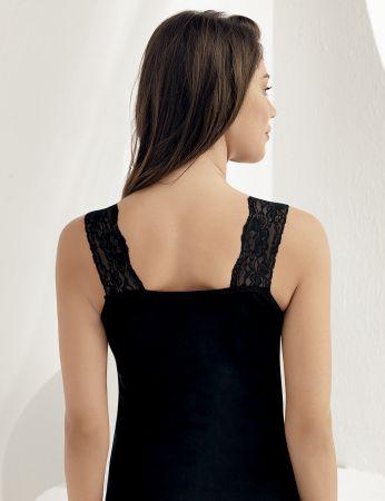 Sahinler geripptes Oberhemd Ausschnitt und Ärmelansätze mit Spitze schwarz MB600