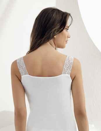 Sahinler geripptes Oberhemd Ausschnitt und Ärmelansätze mit Spitze weiß MB600 - Thumbnail