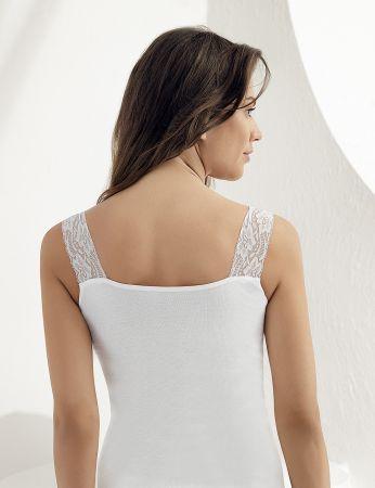Sahinler geripptes Oberhemd Ausschnitt und Ärmelansätze mit Spitze weiß MB600