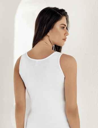 Şahinler - Sahinler geripptes Unterhemd mit breiten Trägern weiß MB004 (1)