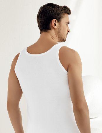 Şahinler - Sahinler geripptes Unterhemd mit breiten Trägern weiß ME020 (1)