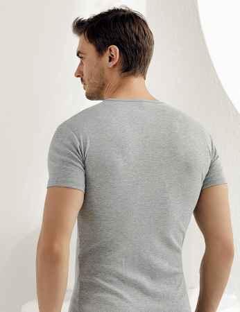 Sahinler geripptes Unterhemd mit kurzen Ärmeln und rundem Ausschnitt grau ME027 - Thumbnail