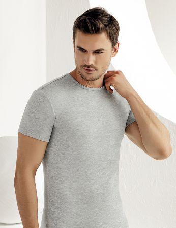 Sahinler geripptes Unterhemd mit kurzen Ärmeln und rundem Ausschnitt grau ME027