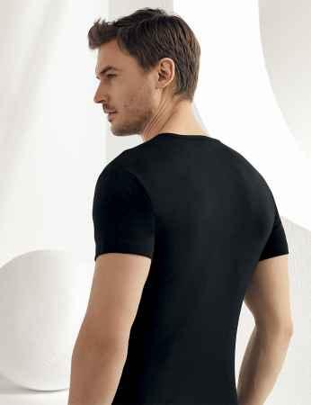 Şahinler - Sahinler geripptes Unterhemd mit kurzen Ärmeln und rundem Ausschnitt schwarz ME027 (1)