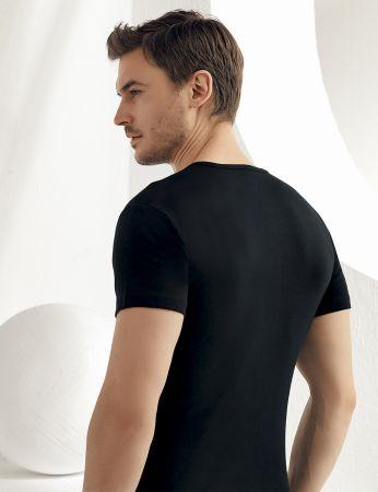 Sahinler geripptes Unterhemd mit kurzen Ärmeln und rundem Ausschnitt schwarz ME027