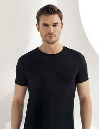 Sahinler geripptes Unterhemd mit kurzen Ärmeln und rundem Ausschnitt schwarz ME027 - Thumbnail