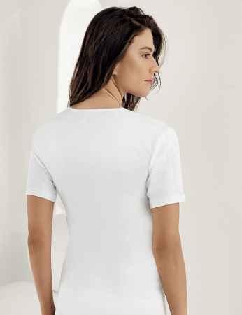 Şahinler - Sahinler geripptes Unterhemd mit kurzen Ärmeln und rundem Ausschnitt weiß MB010 (1)