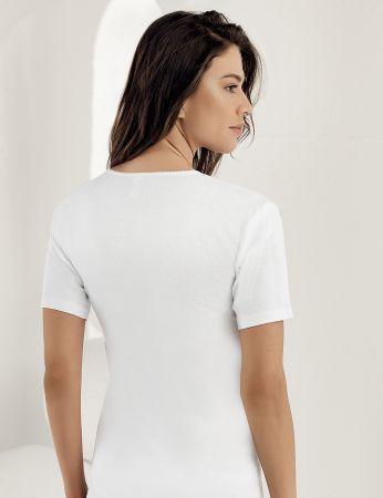 Sahinler geripptes Unterhemd mit kurzen Ärmeln und rundem Ausschnitt weiß MB010