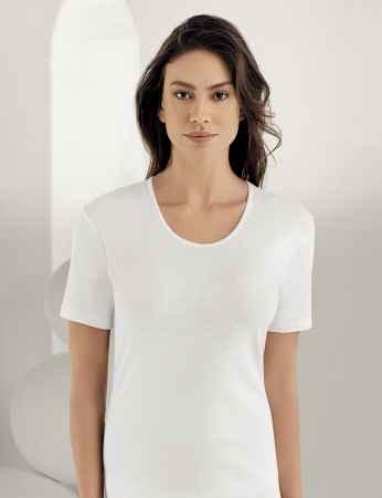 Sahinler geripptes Unterhemd mit kurzen Ärmeln und rundem Ausschnitt weiß MB010 - Thumbnail