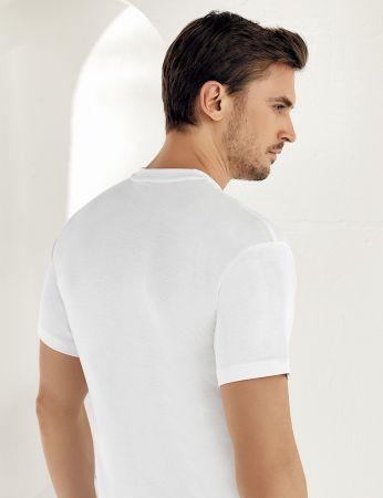 Sahinler geripptes Unterhemd mit kurzen Ärmeln und rundem Ausschnitt weiß ME022
