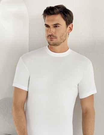 Sahinler geripptes Unterhemd mit kurzen Ärmeln und rundem Ausschnitt weiß ME022 - Thumbnail