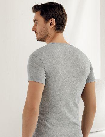 Sahinler geripptes Unterhemd mit kurzen Ärmeln und V-Ausschnitt grau ME028