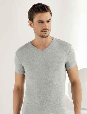 Sahinler geripptes Unterhemd mit kurzen Ärmeln und V-Ausschnitt grau ME028 - Thumbnail