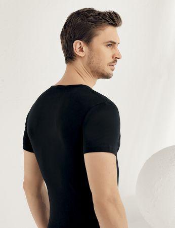 Sahinler geripptes Unterhemd mit kurzen Ärmeln und V-Ausschnitt schwarz ME028