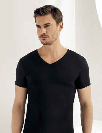 Sahinler geripptes Unterhemd mit kurzen Ärmeln und V-Ausschnitt schwarz ME028 - Thumbnail