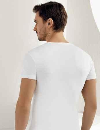 Şahinler - Sahinler geripptes Unterhemd mit kurzen Ärmeln und V-Ausschnitt weiß ME026 (1)