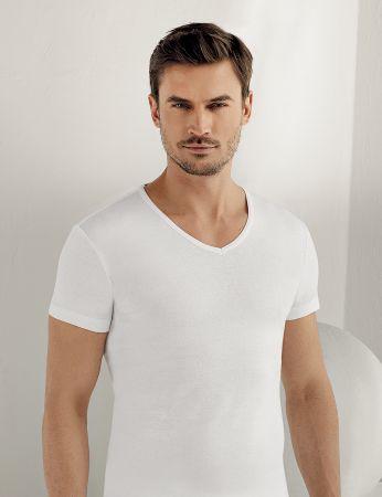 Sahinler geripptes Unterhemd mit kurzen Ärmeln und V-Ausschnitt weiß ME026