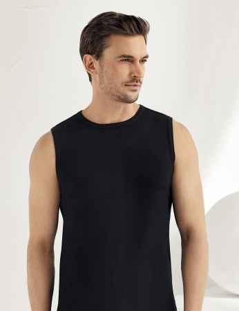 Sahinler geripptes Unterhemd ohne Ärmel und rundem Ausschnitt schwarz ME023 - Thumbnail