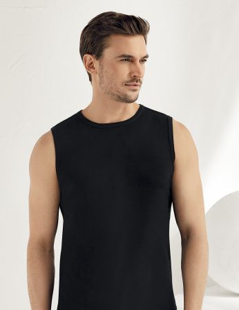 Sahinler geripptes Unterhemd ohne Ärmel und rundem Ausschnitt schwarz ME023