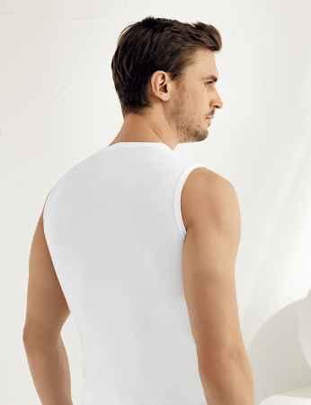 Şahinler - Sahinler geripptes Unterhemd ohne Ärmel und rundem Ausschnitt weiß ME024 (1)