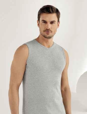 Sahinler geripptes Unterhemd ohne Ärmel und V-Ausschnitt grau ME032 - Thumbnail