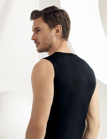 Sahinler geripptes Unterhemd ohne Ärmel und V-Ausschnitt schwarz ME032