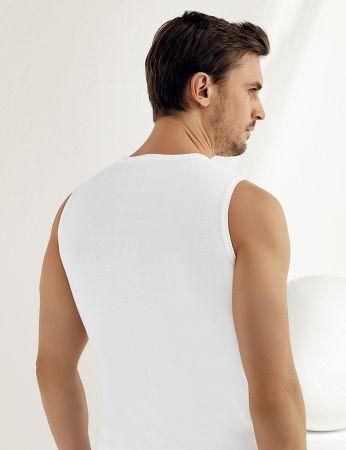 Sahinler geripptes Unterhemd ohne Ärmel und V-Ausschnitt weiß ME033