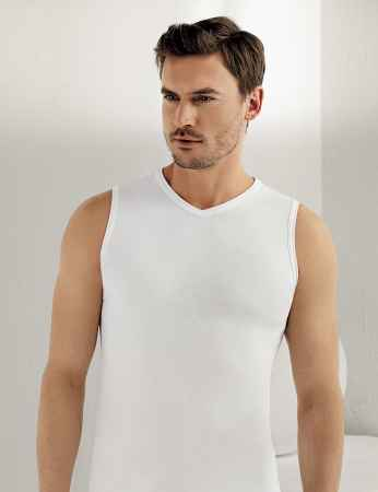 Sahinler geripptes Unterhemd ohne Ärmel und V-Ausschnitt weiß ME033 - Thumbnail