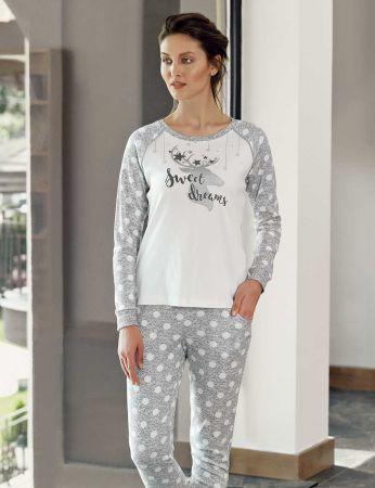 Şahinler - Şahinler Geyik Baskılı Bayan Pijama Takımı Beyaz MBP24306-1