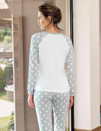 Şahinler - Şahinler Geyik Baskılı Bayan Pijama Takımı Beyaz MBP24306-1 (1)