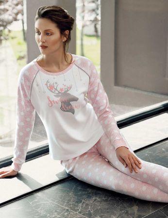 Şahinler - Şahinler Geyik Baskılı Bayan Pijama Takımı Pembe MBP24306-2