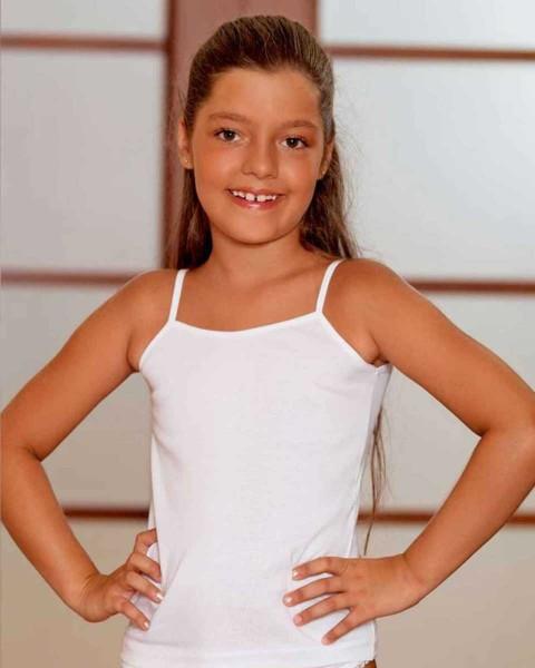 Şahinler - Sahinler Girl Rib Singlet Spaghetti Strap White MKC001