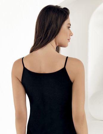 Sahinler glattes Unterhemd mit Spagetti-Trägern schwarz MB001