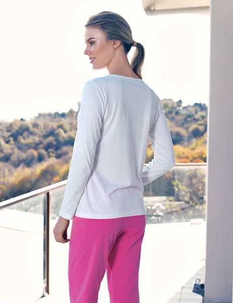 Şahinler - Şahinler Gül Desenli Kadın Pijama Takımı Beyaz MBP23429-1 (1)