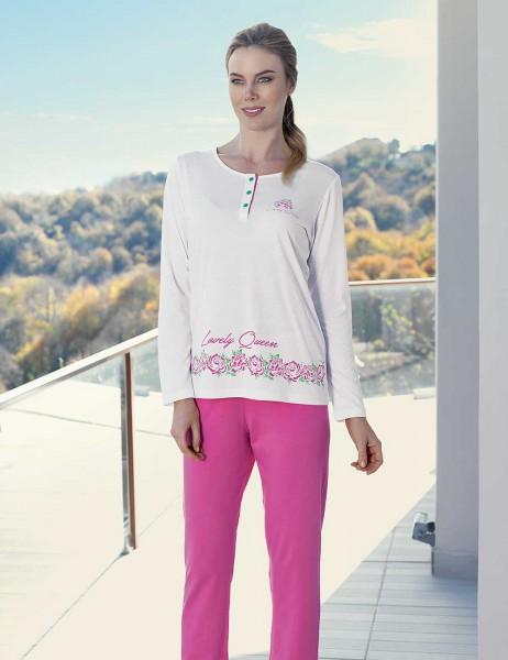 Şahinler - Şahinler Gül Desenli Kadın Pijama Takımı Beyaz MBP23429-1