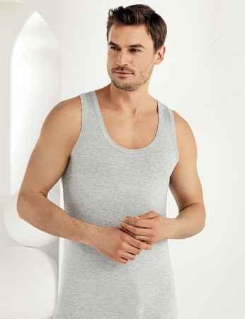 Sahinler Herren Modal Unterhemd Grau ME115 - Thumbnail