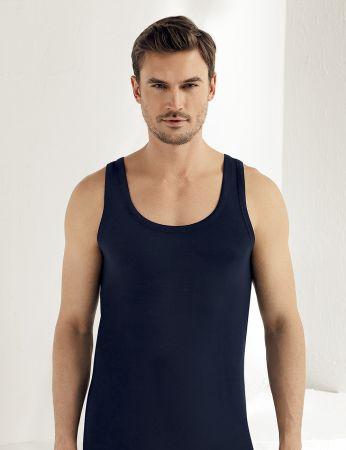 Sahinler Herren Modal Unterhemd Marineblau ME115