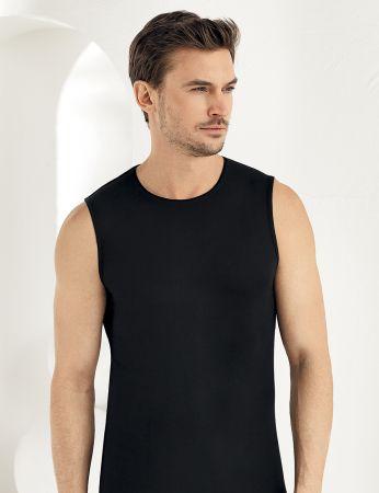 Sahinler Herren Modal Unterhemd Schwarz ME116