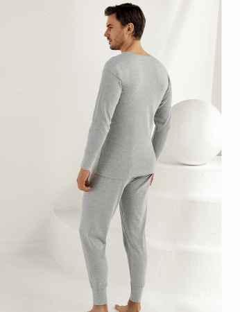 Sahinler Interlock Unterhemd lang mit Manschetten grau ME017 - Thumbnail