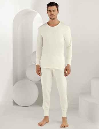 Şahinler - Sahinler Interlock-Unterhemd langärmelig mit rundem Ausschnitt Cremefarben ME016 (1)