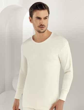 Sahinler Interlock-Unterhemd langärmelig mit rundem Ausschnitt Cremefarben ME016 - Thumbnail