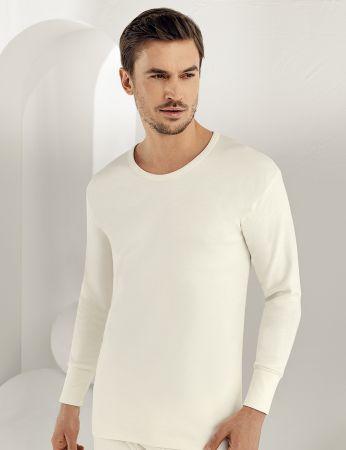 Sahinler Interlock-Unterhemd langärmelig mit rundem Ausschnitt Cremefarben ME016