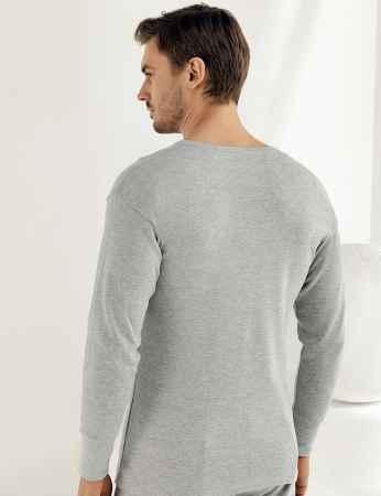 Şahinler - Sahinler Interlock-Unterhemd langärmelig mit rundem Ausschnitt grau ME016 (1)