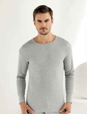 Sahinler Interlock-Unterhemd langärmelig mit rundem Ausschnitt grau ME016 - Thumbnail